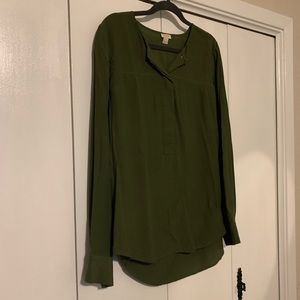 Olive green long sleeve blouse // XL // J. Crew
